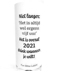 wijnetiket overal 2021, plak humor op je fles wijn