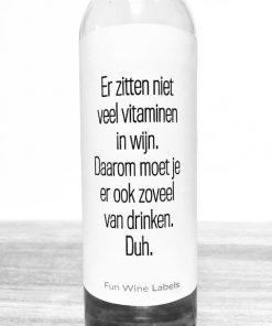 Wijnetiket Vitaminen Wijn