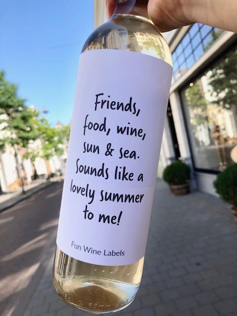 Lovely Summer wijnetiket, vier de zomer met je vrienden