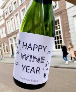 Wijnetiket voor Oud & Nieuw met Happy Wine Year erop