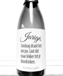 Wijnetiket Jarige Bubbel speciaal voor op een fles Bubbels