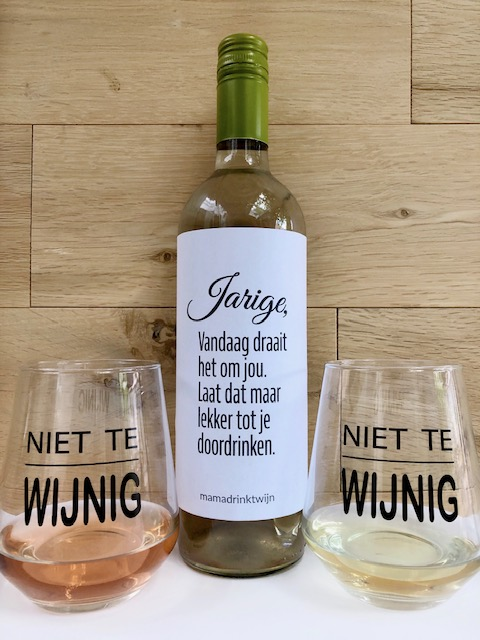 Glazen Pakket Wit, Fles witte wijn met twee tumbler wijnglazen