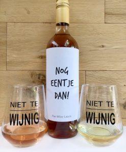 Wijn glazen pakket rosé, fles wijn met twee wijn glazen