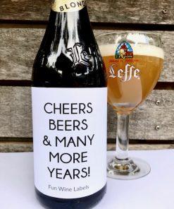 Bierpakket - Blond met bieretiket Cheers Beers And Many More Years