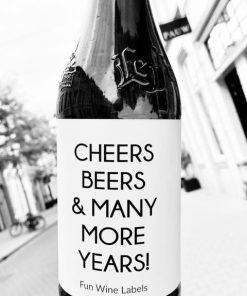 Bieretiket Cheers Beers, origineel cadeau voor een bierliefhebber