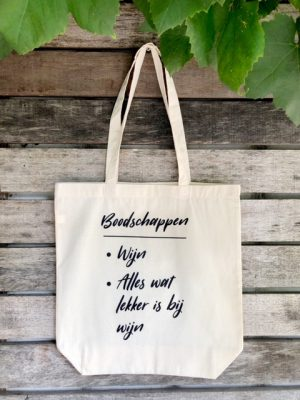 Katoenen Tas met grappige tekst over wijn