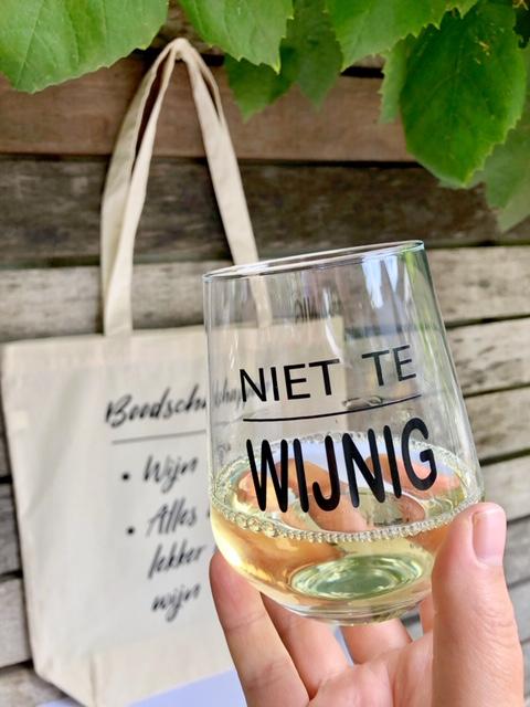Tas & Glas Pakket met hilarische wijnquote