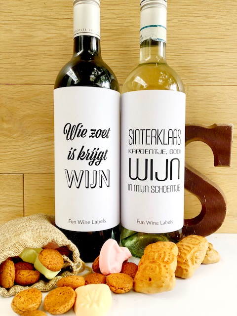 De Sinterklaas etiketten van Fun Wine Labels