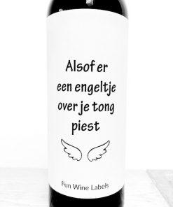 Wijnetiket Engeltje, leuk cadeau voor een wijnliefhebber