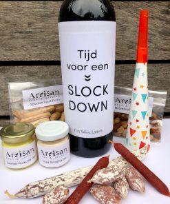 Nieuwjaars Borrelbox Bites met fles wijn