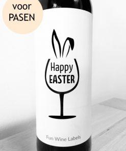 wijnetiket happy easter, perfect relatie geschenk op een fles wijn