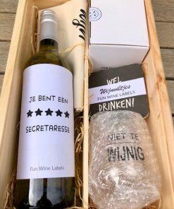 secretaressedag luxe pakket in wijnkist