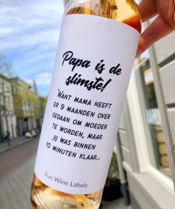 wijnetiket papa slimste op een fles wijn