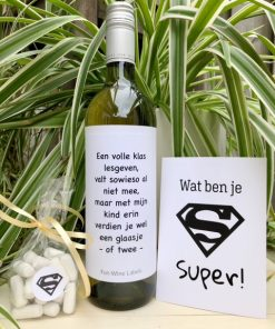 juf meester wijnpakket met witte wijn