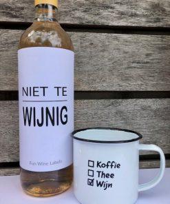 wijn & mok pakket met niet te wijnig etiket